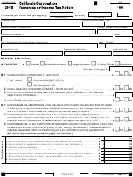 "Form 100 ""California Corporation Franchise or Income Tax Return"" - California, 2019"