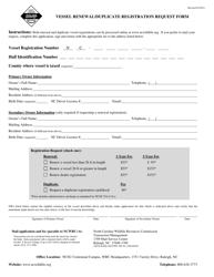 """Vessel Renewal/Duplicate Registration Request Form"" - North Carolina"