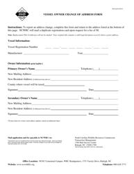 """""""Vessel Owner Change of Address Form"""" - North Carolina"""