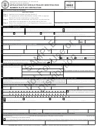 "Sample Form 5062 ""Application for Vehicle/Trailer Identification Number Plate or Verification"" - Missouri"