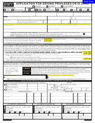 "Form 735-173 ""Application for Driving Privileges or Id Card"" - Oregon"