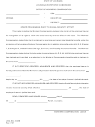 """Form LWC-WC-1005B """"Order Recognizing Right to Social Security Offset"""" - Louisiana"""
