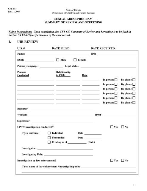 Form CFS687  Printable Pdf