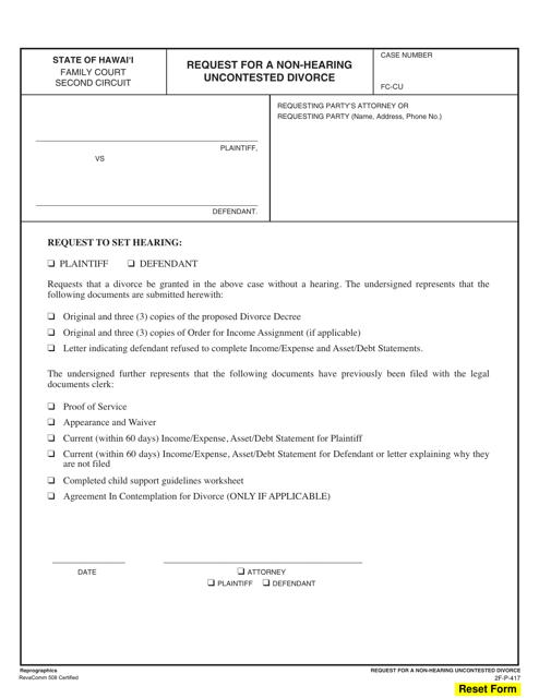 Form 2F-P-417  Printable Pdf