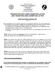 """Freshwater Wetlands Exemption Letter and Transition Area Exemption Letter Application Checklist"" - New Jersey"
