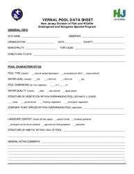 """""""Vernal Pool Data Sheet"""" - New Jersey"""