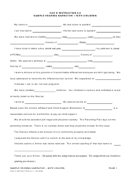 """Instructions for Form CAO D8-5 """"Sample Hearing Narrative - With Children"""" - Idaho"""