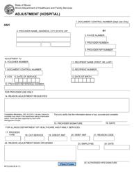 """Form HFS2249 """"Adjustment (Hospital)"""" - Illinois"""