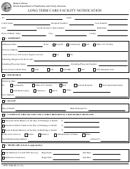 "Form HFS1156 ""Long Term Care Facility Notification"" - Illinois"