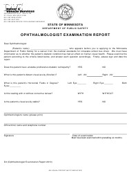 "Form D4 ""Ophthalmologist Examination Report"" - Minnesota"