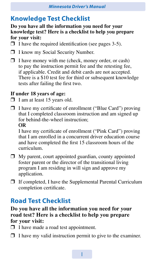"""""""Check List From Driver's Manual"""" - Minnesota Download Pdf"""