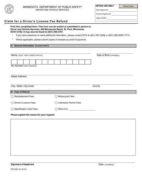Form PS31081  Printable Pdf