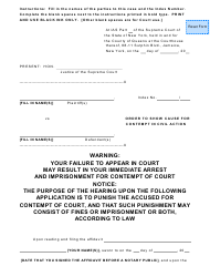 """""""Order to Show Cause for Contempt in Civil Action"""" - New York"""