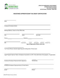 """Registered Apprenticeship Tax Credit Certification"" - Louisiana"