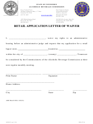 """Form AB-0101 """"Retail Application Letter of Waiver"""" - Tennessee"""
