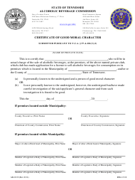 """Form AB-0119 """"Certificate of Good Moral Character"""" - Tennessee"""