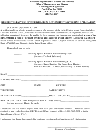 """""""Resident Surviving Spouse Killed in Action Hunting/Fishing Application"""" - Louisiana"""