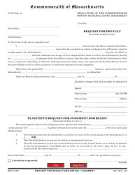 "Form BMC-CV-005 ""Request for Default"" - Boston, Massachusetts"