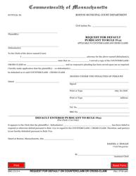 "Form BMC-CV-014 ""Request for Default Pursuant to Rule 55(A)"" - Boston, Massachusetts"