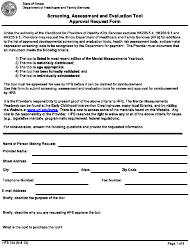 "Form HFS724 ""Screening, Assessment and Evaluation Tool Approval Request Form"" - Illinois"