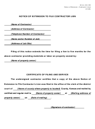 """""""Notice of Extension to File Contractor Lien"""" - Kansas"""