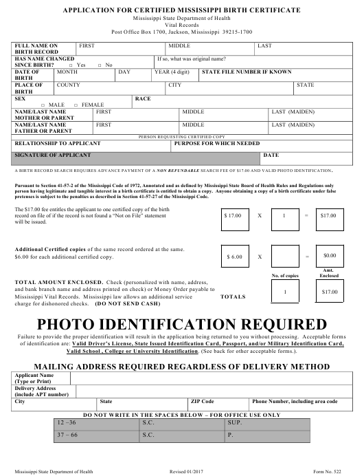 Form 522 Download Fillable Pdf Or Fill Online Application For Certified Mississippi Birth Certificate Mississippi Templateroller