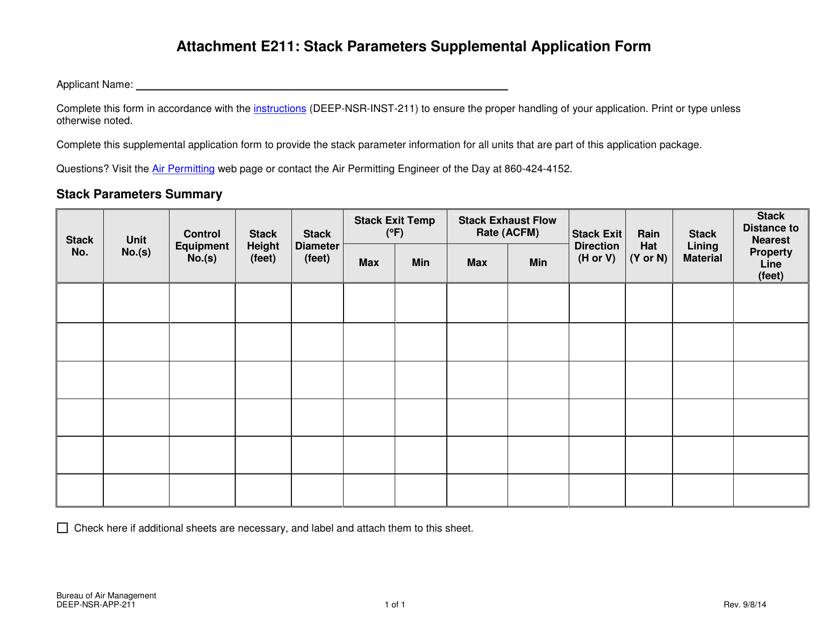 Form DEEP-NSR-APP-211 Attachment E211  Printable Pdf