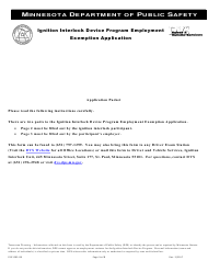 "Form PS31205 ""Ignition Interlock Device Program Employment Exemption Application"" - Minnesota"