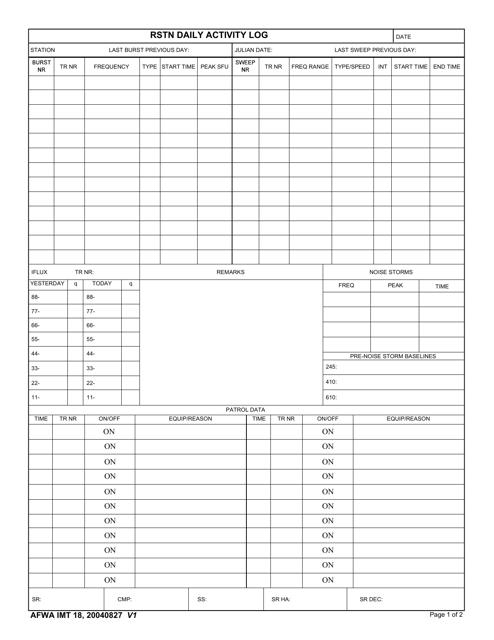 AFWA IMT Form 18  Printable Pdf