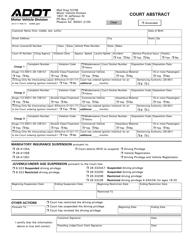 "Form 26-0117 ""Court Abstract"" - Arizona"
