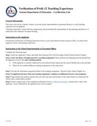 """Verification of Prek-12 Teaching Experience"" - Arizona"