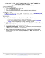 """""""Application to Extend an International Teaching Certificate"""" - Arizona"""