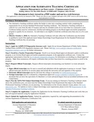 """Application for Alternative Teaching Certificate"" - Arizona"