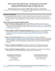 """Application for Certificate - International Teaching"" - Arizona"