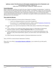 """Application to Extend an Interim Administrative Certificate"" - Arizona"