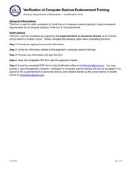 """Verification of Computer Science Endorsement Training"" - Arizona"