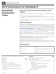 "Instructions for IRS Form 1040, 1040-SR Schedule H ""Household Employment Taxes"", 2019"