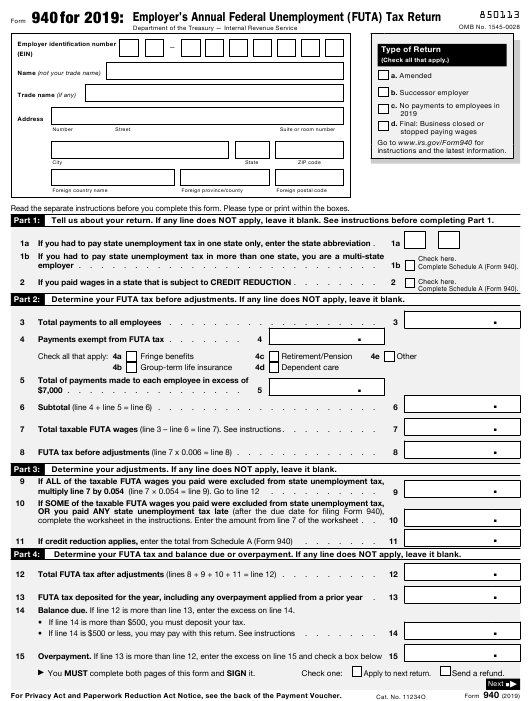 IRS Form 940 Download Fillable PDF or Fill Online Employer's Annual Federal Unemployment (Futa) Tax Return - 2019 | Templateroller