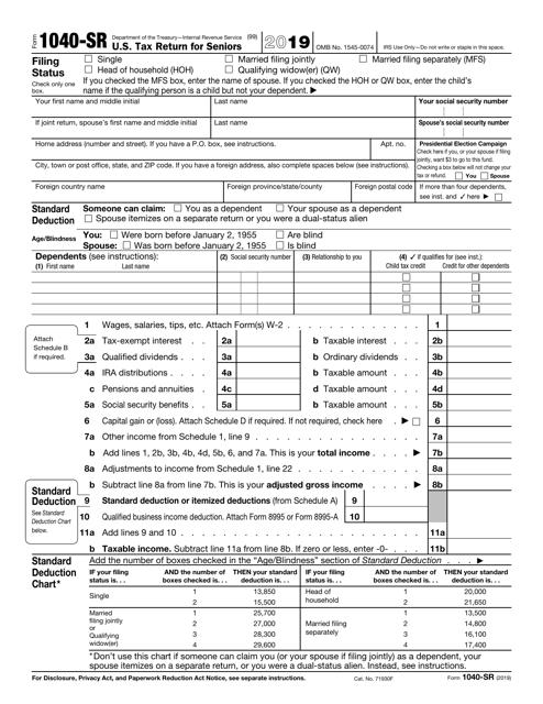 IRS Form 1040-SR 2019 Printable Pdf