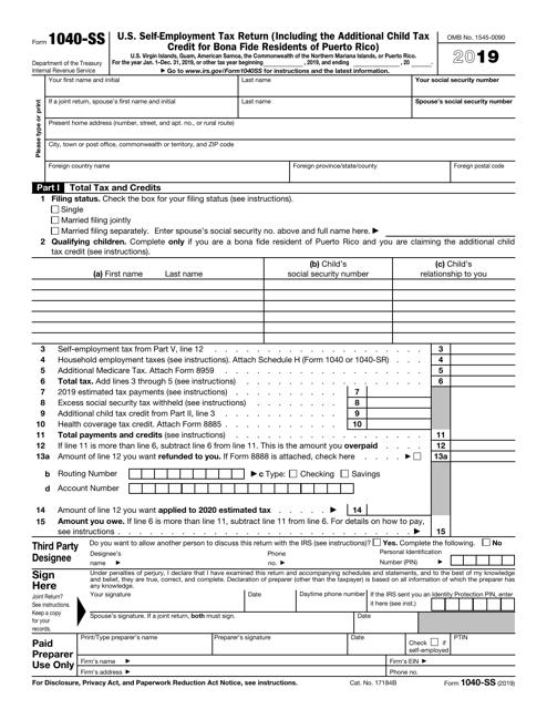 IRS Form 1040-SS 2019 Printable Pdf