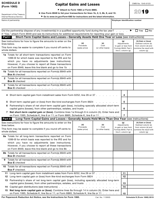 IRS Form 1065 Schedule D 2019 Printable Pdf