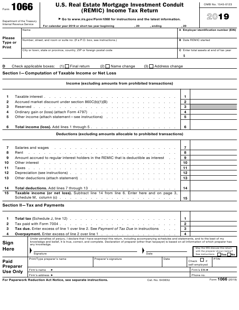 IRS Form 1066 2019 Printable Pdf