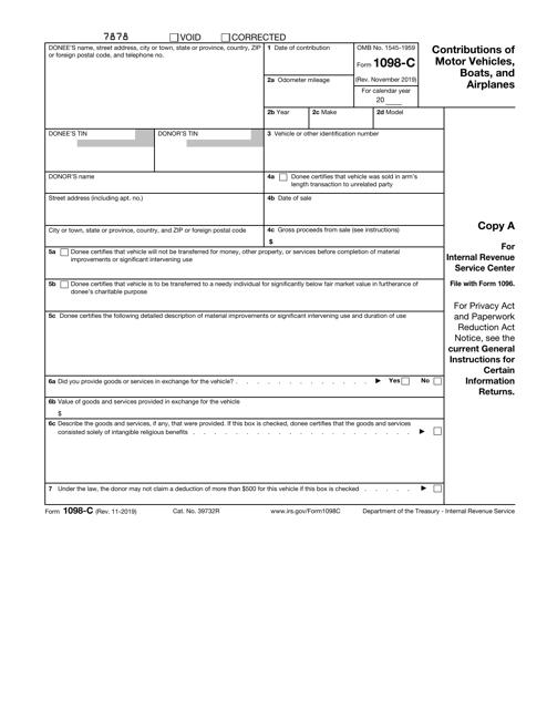 IRS Form 1098-C  Printable Pdf