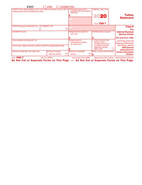 IRS Form 1098-T 2020 Printable Pdf