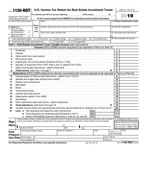 IRS Form 1120-REIT 2019 Printable Pdf