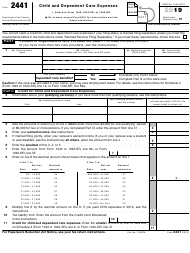 "IRS Form 2441 ""Child and Dependent Care Expenses"", 2019"