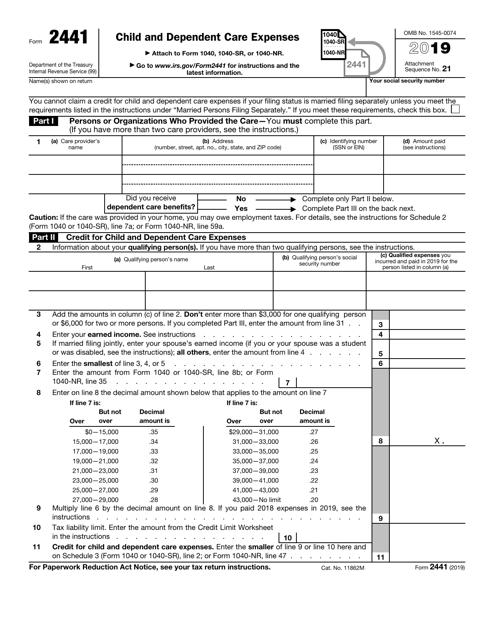 IRS Form 2441 2019 Printable Pdf