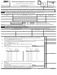 """IRS Form 2441 """"Child and Dependent Care Expenses"""""""