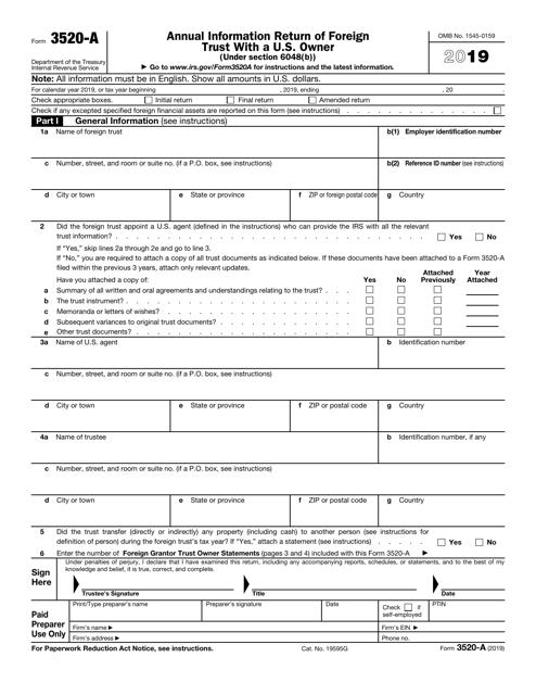 IRS Form 3520-A 2019 Printable Pdf