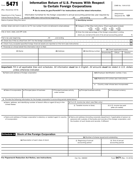 IRS Form 5471  Printable Pdf
